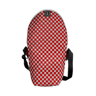 Red And White Diamond-Checkerboard Commuter Bags