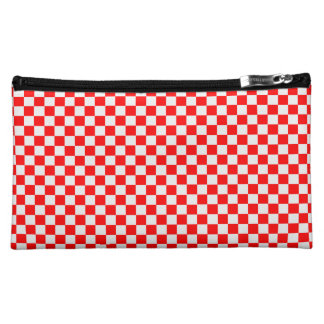 Red And White Diamond-Checkerboard Cosmetic Bags