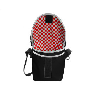 Red And White Diamond-Checkerboard Courier Bags