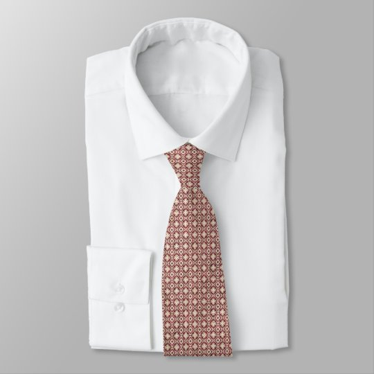 Red and White Diamond Faux Denim Tie