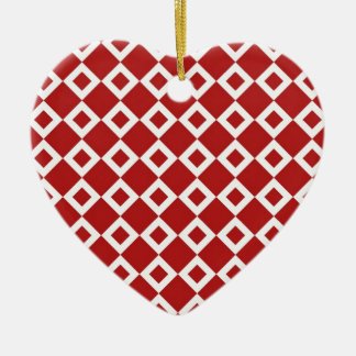 Red and White Diamond Pattern Christmas Ornament