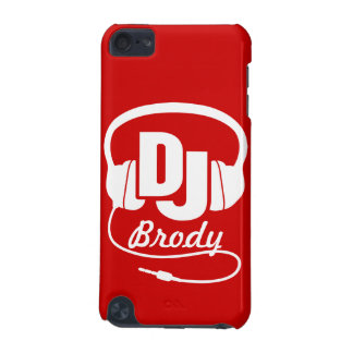 Red and white DJ name headphones iPod Touch 5G Cases