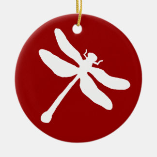 Red and White Dragonfly Christmas Ornament
