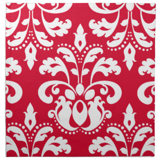 Red and white elegant Christmas damask Napkin