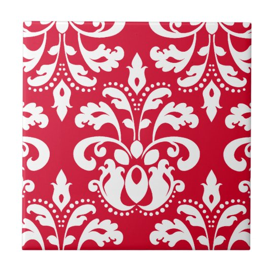Red and white elegant Christmas damask Small Square