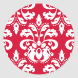 Red and white elegant Christmas damask Classic Round Sticker