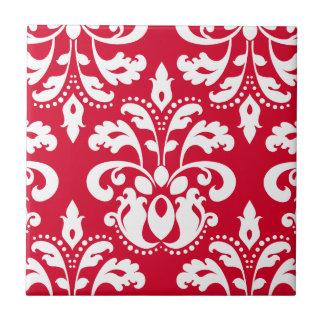 Red and white elegant Christmas damask Tile