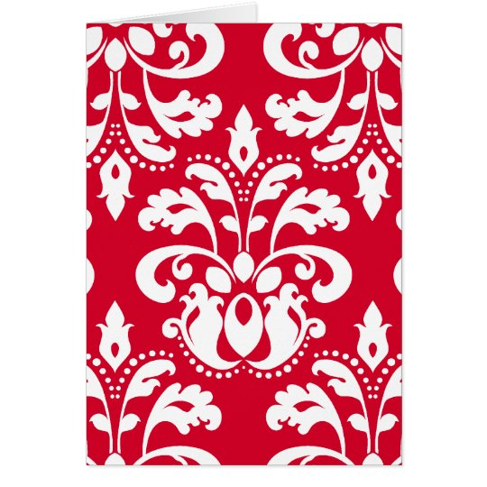 Red and white elegant Christmas damask version 2 Card