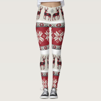 Red and white fair isle leggings