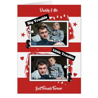 Red and white Father's Day photo Card