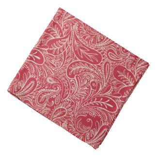 Red and White Faux Denim Paisley Bandana