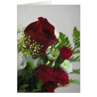 Red and White Floral-Blank Card
