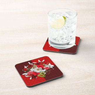 Red and White Floral Bouquet Drink Coaster