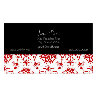 Red and White Floral Damask Style Pattern Pack Of Standard Business Cards