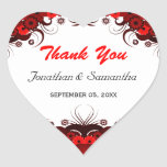 Red and White Floral Heart Wedding Favour Sticker