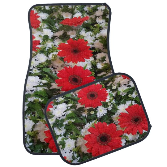 Red and White Floral Leaf Set of 4 Car Mats
