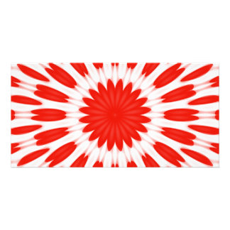 Red and White Floral Pattern Photo Cards