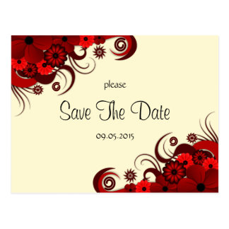 Red and White Floral Save The Date Announcements Postcard