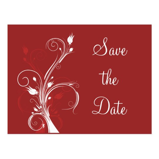 Red and White Floral Save the Date Postcard