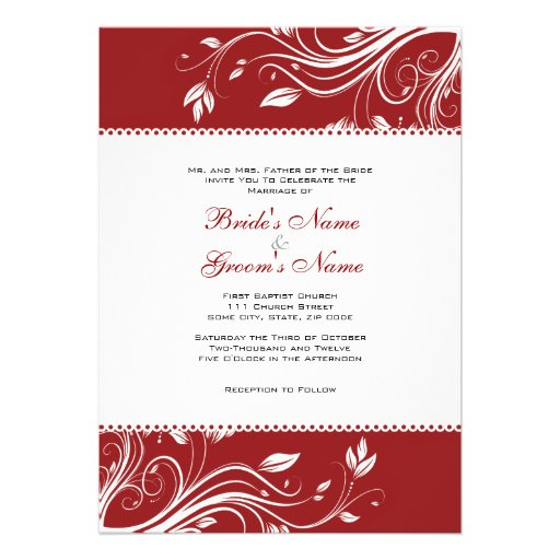 Red and White Floral Swirls Wedding Invitation 13 Cm X 18 ...Red And White Wedding Invitations