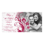 Red and White Floral Wedding Save the Date
