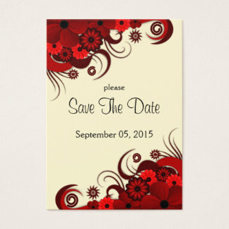 Red and White Floral Wedding Save The Date Cards