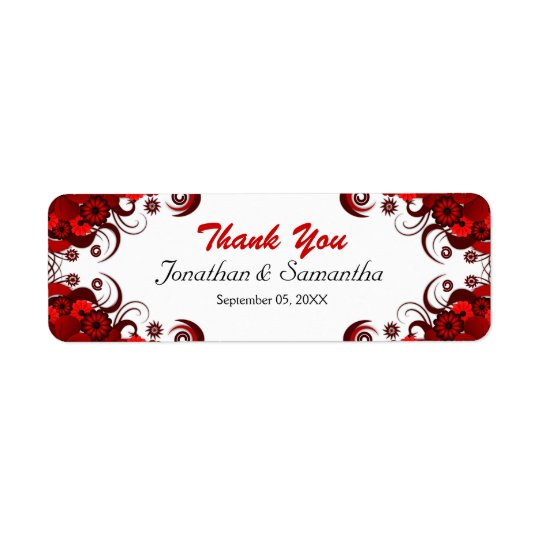 Red and White Floral Wedding Small Favour Labels