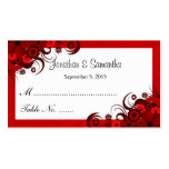Red and White Floral Wedding Table Place Cards Pack Of Standard Business Cards