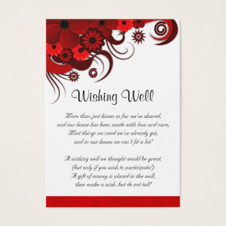 Red and White Floral Wedding Wishing Well Cards