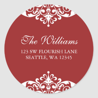 Red and White Flourish Scroll Address Label