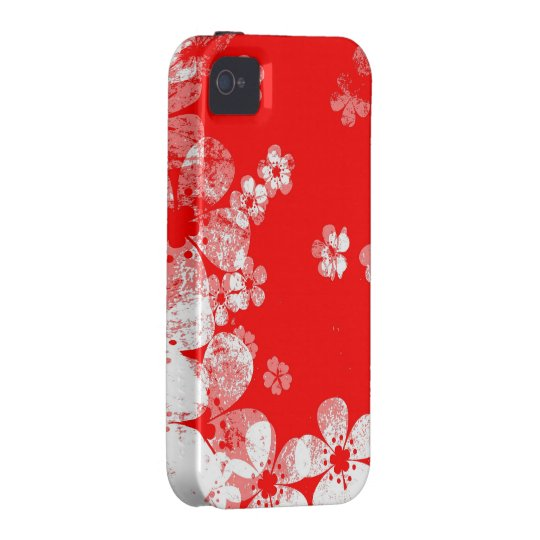 Red and white flower pattern iPhone 4 case