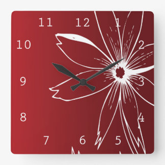 Red and White Flower Square Wall Clock