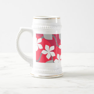 Red and White Flowers. Floral Pattern. Beer Stein