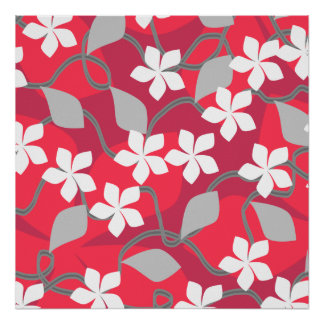 Red and White Flowers Floral Pattern Posters