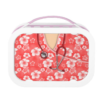 Red And White Flowers Turtles Medical Scrubs Lunch Box
