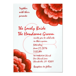 Red and White Flowers Wedding Metallic Template 13 Cm X 18 Cm Invitation Card
