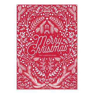 Red and White Foliage & Berries Christmas Card