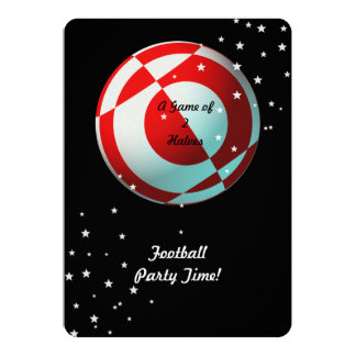 Red and White Football Party (photo) 13 Cm X 18 Cm Invitation Card