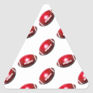 Red and White Football Pattern Triangle Sticker