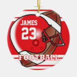 Red and White Football Round Ceramic Decoration