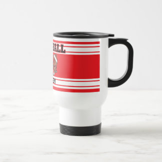 Red and White Football Stainless Steel Travel Mug