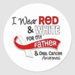 Red And White For Father 42 Oral Cancer Round Sticker