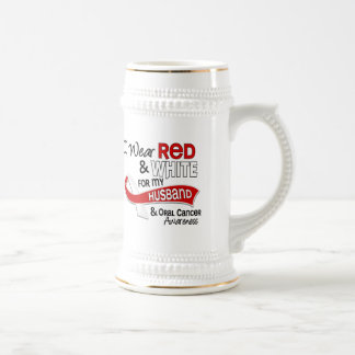 Red And White For My Husband 42 Oral Cancer Mugs