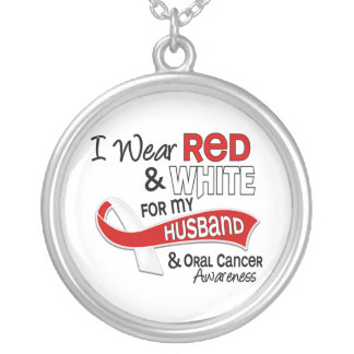 Red And White For My Husband 42 Oral Cancer Silver Plated Necklace