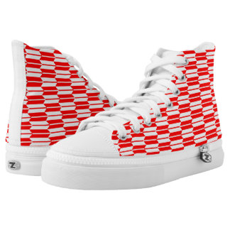 Red and white Geometric pattern zipz Printed Shoes