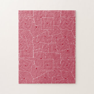 Red and White Geometric Square Pattern Jigsaw Puzzle