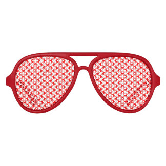 Red and white gingham checked aviator sunglasses