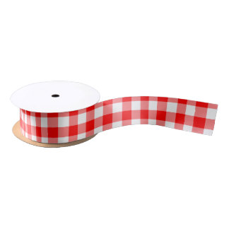 Red and White Gingham Checked Plaid Satin Ribbon