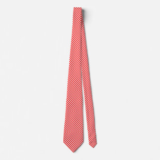 Red and white gingham checked tie