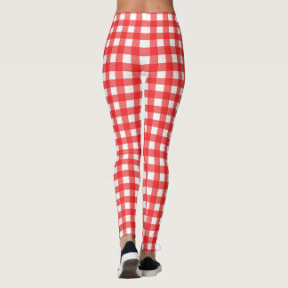 Red and White Gingham Classic Checked Pattern Leggings